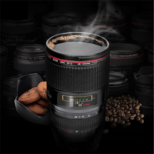 450ml Camera Lens Coffee Mug and Biscuit Holder